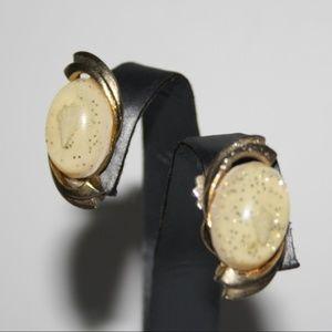 Gold tone and sea shell vintage earrings